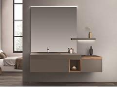 Mobile lavabo sospeso con cassetti con specchio CARTABIANCA | Mobile lavabo con specchio - Cartabianca