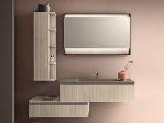 Mobile lavabo laccato sospeso con armadio CARTABIANCA | Mobile lavabo con armadio - Cartabianca