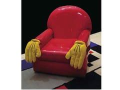 Poltrona imbottita in PVC con braccioli CARTOON | Poltrona - Mirabili Arte d'Abitare