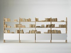 Libreria a giorno con contenitori in MDFCAVALLETTO - cm 415 x h155 - AGAPECASA