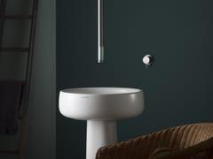 Miscelatore per lavabo a 2 fori da soffitto monocomando in acciaio inox e vetro REVITRUM | Miscelatore per lavabo da soffitto - REVITRUM