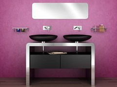Mobile lavabo doppio in acciaio inox con cassettiCENTOTTANTA | Mobile lavabo - COMPONENDO