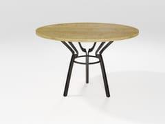 Tavolo in legno impiallacciato e lama di ferroCERCHIO | Tavolo in legno impiallacciato - BAREL
