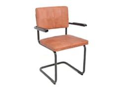 Sedia a sbalzo in pelle con braccioli NELSON | Sedia con braccioli - Nelson