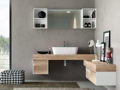 Mobile lavabo angolare sospeso con cassetti CHANGE 213 - Change