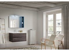Mobile lavabo singolo in stile moderno con cassetti con specchio CHANGE 359 - Change