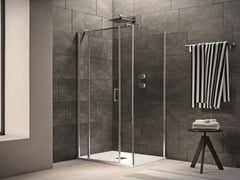 Box doccia angolare in vetro in stile moderno con piatto con porta a battente CLAIRE DESIGN - 4 | Box doccia angolare - Claire design
