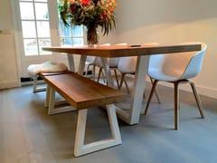 Tavolo rettangolare in acciaio e legnoCLEOPATRE BORDS DROITS - FOR ME LAB