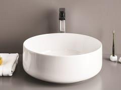 Lavabo da appoggio rotondo in ceramica COGNAC | Lavabo rotondo -