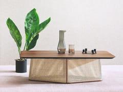 Tavolino rettangolare in paglia di Vienna e legno COLONY   Tavolino rettangolare - Colony