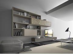 Parete attrezzata componibile fissata a muro in legno con porta tv CrossART - 508 - CrossART