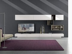 Parete attrezzata componibile fissata a muro in legno con porta tv I-modulART_20 - 325 - I-modulART_20
