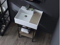 Consolle lavabo con struttura in acciaio e piano in rovereNOBU   Consolle lavabo - COLAVENE