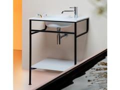 Consolle con lavabo tondo integrato in Cristalplant® BiobaseRISE | Consolle lavabo - KOS BY ZUCCHETTI