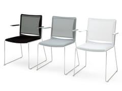 Sedia a slitta in polipropilene con braccioli S'MESH SOFT | Sedia con braccioli - S'mesh Soft
