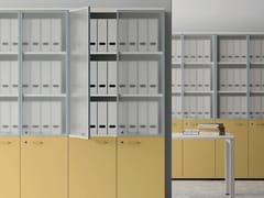 Mobile ufficio alto in legno e vetro con ante a battente CONTENITORI UNIVERSALI EVO | Mobile ufficio in legno e vetro - Contenitori Universali Evo