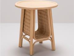 Tavolino alto rotondo in rattan con portariviste CORRIDOR | Tavolino alto -