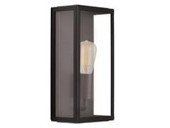 Applique per esterno a luce diretta in acciaio inox e vetro country