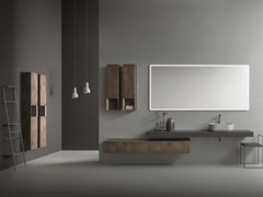 Mobile lavabo sospeso in rovere con specchioCR#2.01 - NOVELLO