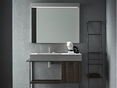 Mobile lavabo in resina di cemento con specchioCR#2.07 - NOVELLO