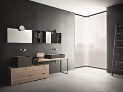Mobile lavabo doppio in rovere con specchioCR#2.09 - NOVELLO