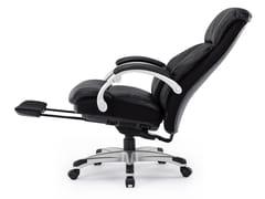 Poltrona ufficio direzionale reclinabile in pelle a 5 razze con poggiapiediCS-2066E - UE FURNITURE CO.