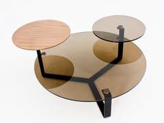 Tavolino da caffè rotondo in legno e vetroCT-233B | Tavolino - ADWIN FURNITURE