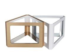 Tavolino da caffè triangolare in legno e vetroCT-192 | Tavolino - ADWIN FURNITURE