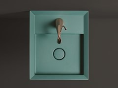 Lavabo in ceramica da appoggio e sospeso con troppopienoCUT | Lavabo singolo - VALDAMA