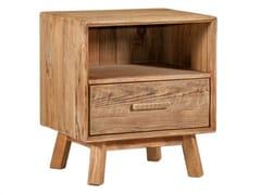 Comodino quadrato in legno massello con cassettiCYCLAMEN - ARREDIORG