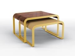 Tavolino in metallo con top in noce e top in pelleDEA TWIN SET - BRUNO ZAMPA