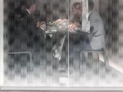 Parete mobile in vetro decorato DECORFLOU® DESIGN NUVEM -