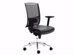 Sedia ufficio operativa girevole in pelle con braccioli DIVA | Sedia ufficio operativa in pelle - Diva