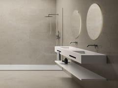 Mobile lavabo doppio sospeso in Solid SurfaceCONTRACT | Mobile lavabo doppio - FIORA