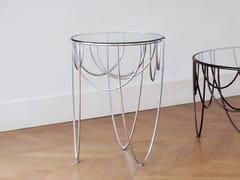 Tavolino rotondo in acciaio e cristallo DRAPERY - Drapery