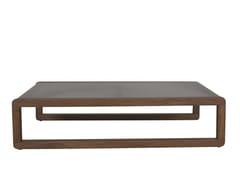Tavolino da giardino rettangolare in legno e vetro DUAL | Tavolino a slitta - Dual