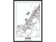 Poster con cornice in legnoDUBAI, EMIRATES CITYMAP - MONDIART INTERNATIONAL