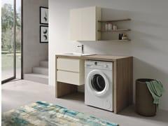 Mobile lavanderia in polimerico con lavatoio per lavatriceEASY WASH - COMPOSIZIONE 3 - ALPEMADRE