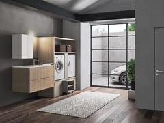 Mobile lavanderia in polimerico con lavatoio per lavatriceEASY WASH - COMPOSIZIONE 6 - ALPEMADRE