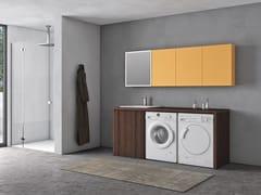 Mobile lavanderia in polimerico con lavatoio per lavatriceEASY WASH - COMPOSIZIONE 5 - ALPEMADRE