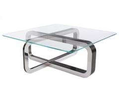 Tavolino quadrato in cristallo e base in metalloEBB&FLOW   Tavolino - SOFTICATED
