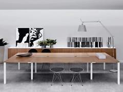 Tavolo da riunione in legno impiallacciato con sistema passacaviECO | Tavolo da riunione - ELITABLE