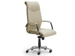 Poltrona ufficio direzionale girevole in pelle con braccioliELEGANCE | Poltrona ufficio direzionale con schienale alto - LEYFORM