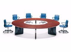 Tavolo da riunione rotondo in cuoio EPICO | Tavolo da riunione rotondo - Epico