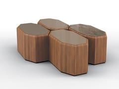 Tavolino modulare ottagonale in noceESEDRA SET - BRUNO ZAMPA