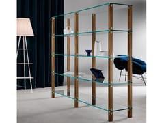 Libreria a giorno modulare in legno e vetro EUCLIDE | Libreria modulare -
