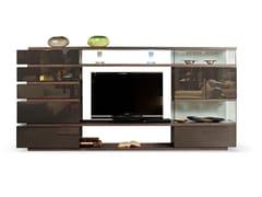 Mobile TV in legno e vetro con libreriaEUREKA BT001 - ROCHE BOBOIS
