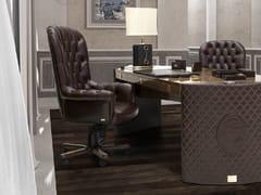 Poltrona ufficio direzionale girevole in pelle a 5 razze con ruote PLAZA | Poltrona ufficio direzionale con schienale alto - Plaza