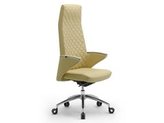 Poltrona ufficio direzionale girevole in pelle con braccioliZEUS | Poltrona ufficio direzionale con schienale alto - LEYFORM
