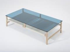 Tavolino basso rettangolare in legno e vetro FAWN | Tavolino rettangolare - Fawn